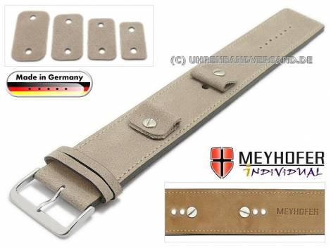Uhrenarmband -Gotha- 14-16-18-20mm Wechselanstoß beige Leder Antik-Look helle Naht Unterlagenband von Meyhofer - Bild vergrößern