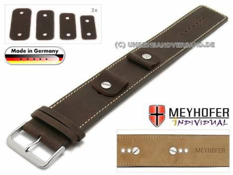 Uhrenarmband -Gotha- 14-16-18-20mm Wechselanstoß dunkelbraun Leder Antik-Look helle Naht Unterlagenband von Meyhofer - Bild vergrößern