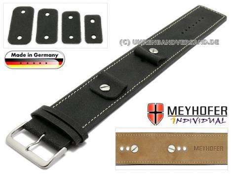 Uhrenarmband -Gotha- 14-16-18-20mm Wechselanstoß schwarz Leder Antik-Look helle Naht Unterlagenband von Meyhofer - Bild vergrößern
