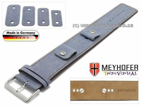 Uhrenarmband -Eisenach- 14-16-18-20mm Wechselanstoß blau Synthetik/Leder Jeans-Look braune Naht Unterlagenband Meyhofer - Bild vergrößern
