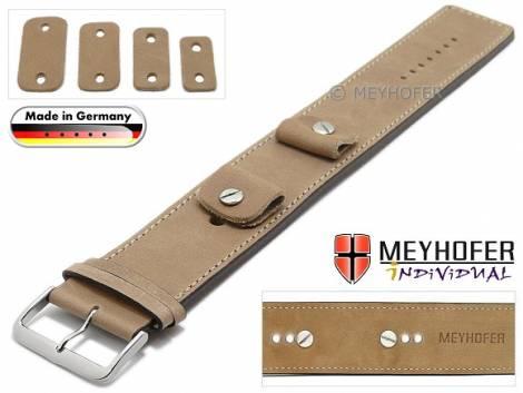 Uhrenarmband -Magdeburg- 14-16-18-20mm Wechselanstoß beige Leder Antik-Look helle Naht Unterlagenband Meyhofer - Bild vergrößern