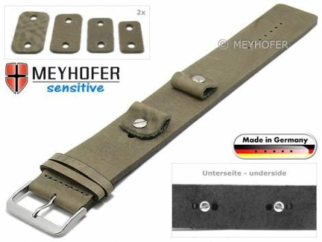 Uhrenarmband -Starnberg- 14-16-18-20mm Wechselanstoß beige Leder Antik-Look vegetabil Unterlagenband von Meyhofer - Bild vergrößern