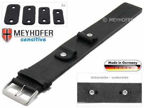 Uhrenarmband -Starnberg- 14-16-18-20mm Wechselanstoß schwarz Leder Antik-Look vegetabil Unterlagenband von Meyhofer - Bild vergrößern