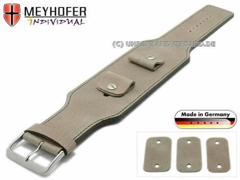 Uhrenarmband -Windhoek- 20-22-24mm Wechselanstoß beige Leder Antik-Look graue Naht Unterlagenband von MEYHOFER - Bild vergrößern
