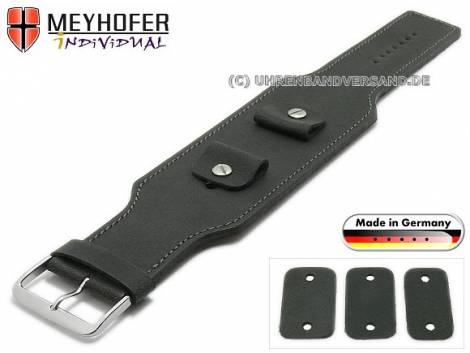 Uhrenarmband -Windhoek- 20-22-24mm Wechselanstoß schwarz Leder Antik-Look graue Naht Unterlagenband von MEYHOFER - Bild vergrößern