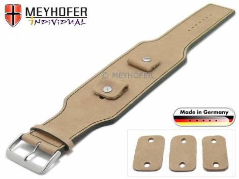 Uhrenarmband -Luederitz- 20-22-24mm Wechselanstoß beige Leder Antik-Look schwarze Naht Unterlagenband von MEYHOFER - Bild vergrößern