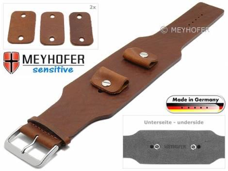 Uhrenarmband -Weilheim- 20-22-24mm Wechselanstoß mittelbraun Leder Antik-Look vegetabil Unterlagenband von Meyhofer - Bild vergrößern