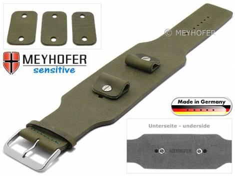 Uhrenarmband -Weilheim- 20-22-24mm Wechselanstoß dunkelgrün Leder Antik-Look vegetabil Unterlagenband von Meyhofer - Bild vergrößern
