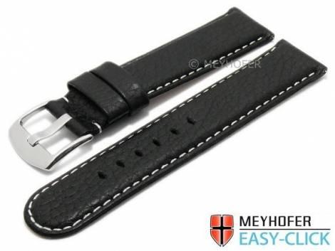 Meyhofer EASY-CLICK Uhrenarmband -Tahoe- 24mm schwarz Leder genarbt helle Naht (Schließenanstoß 24 mm) - Bild vergrößern