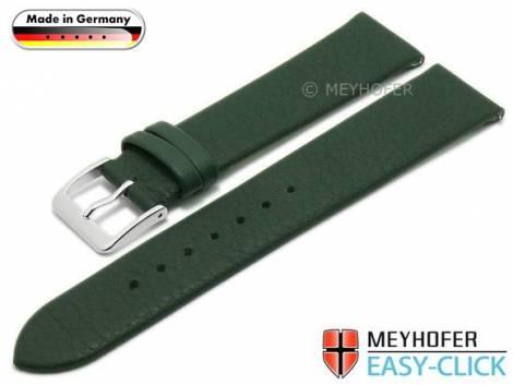 Meyhofer EASY-CLICK Uhrenarmband -Donau- 22mm dunkelgrün Leder glatt ohne Naht (Schließenanstoß 18 mm) - Bild vergrößern