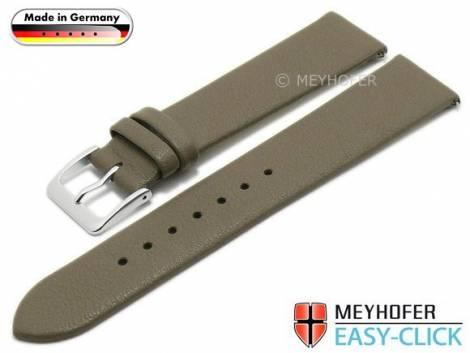 Meyhofer EASY-CLICK Uhrenarmband -Donau- 16mm taupe Leder glatt ohne Naht (Schließenanstoß 16 mm) - Bild vergrößern