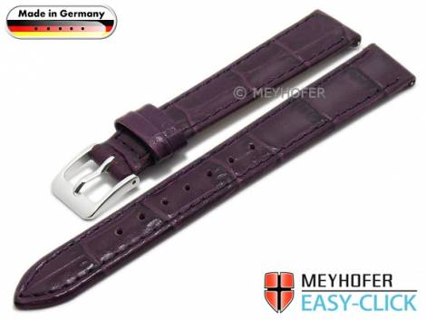Meyhofer EASY-CLICK Uhrenarmband -Isar- 14mm lila Leder Alligator-Prägung abgenäht (Schließenanstoß 12 mm) - Bild vergrößern