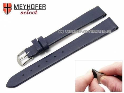 Uhrenarmband XL -Southampton- 12mm Clip-Anstoß dunkelblau Leder glatt matt von MEYHOFER (Schließenanstoß 12 mm) - Bild vergrößern