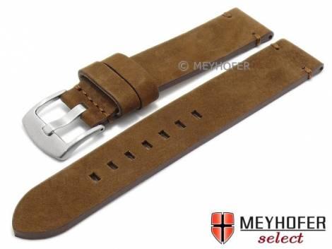 Uhrenarmband -Seattle- 18mm mittelbraun Leder velourartig abgenäht von MEYHOFER (Schließenanstoß 18 mm) - Bild vergrößern