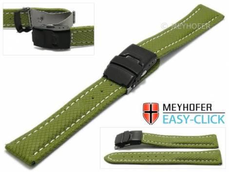 Meyhofer EASY-CLICK Uhrenband -Huron- 18mm olivgrün Textil-Look helle Naht mit Faltschließe (Schließenanstoß 18 mm) - Bild vergrößern
