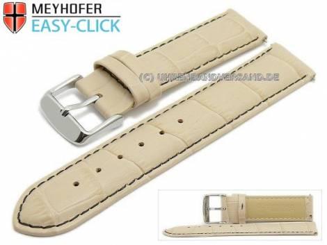 Uhrenarmband Meyhofer EASY-CLICK -Marseille Special- 18mm beige Alligator-Prägung schwarze Naht (Schließenanstoß 18 mm) - Bild vergrößern