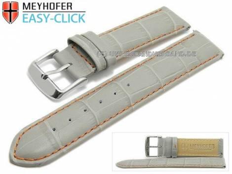 Uhrenarmband Meyhofer EASY-CLICK -Marseille Special- 18mm grau Alligator-Prägung orange Naht (Schließenanstoß 18 mm) - Bild vergrößern