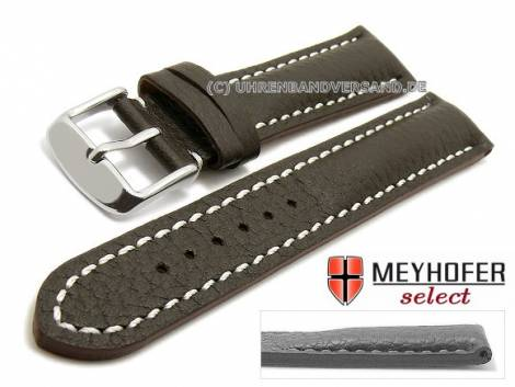 Uhrenarmband -Lanark- 17mm dunkelbraun Leder genarbt matt helle Naht von MEYHOFER (Schließenanstoß 16 mm) - Bild vergrößern