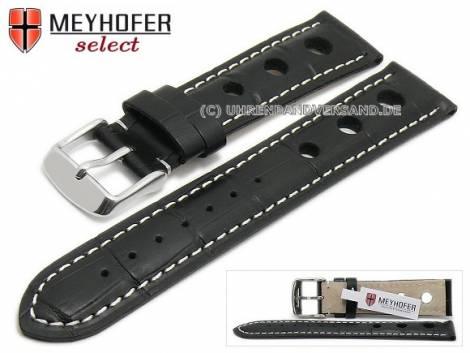 Uhrenarmband -Topeka- 21mm schwarz Alligator-Prägung Racing-Look weiße Naht von MEYHOFER (Schließenanstoß 20 mm) - Bild vergrößern
