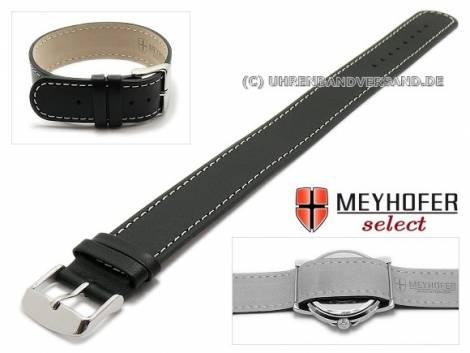 Durchzugsband -Prag- 22mm schwarz Leder glatt weiße Naht von Meyhofer - Bild vergrößern