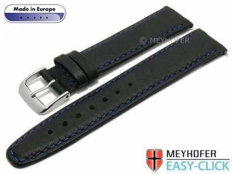 Meyhofer EASY-CLICK Uhrenarmband -Tabor- 24mm schwarz Leder genarbt blaue Naht (Schließenanstoß 20 mm) - Bild vergrößern