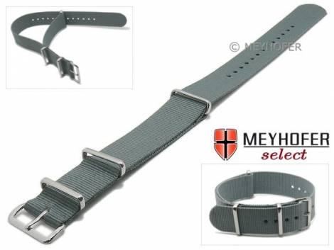 Uhrenarmband -Ohio- 20mm grau Textil 3 Metallschlaufen Durchzugsband von MEYHOFER - Bild vergrößern