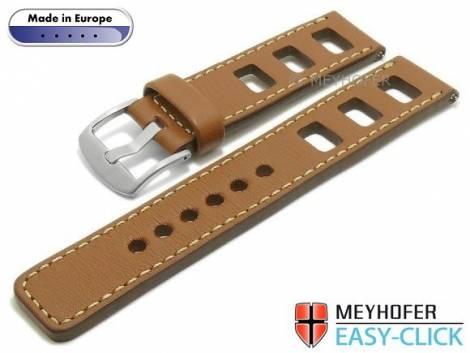 Meyhofer EASY-CLICK Uhrenarmband -Brega- 24mm hellbraun Leder glatt Racing-Optik helle Naht (Schließenanstoß 24 mm) - Bild vergrößern