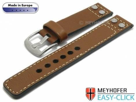Meyhofer EASY-CLICK Uhrenarmband -Elbing- 22mm hellbraun Leder glatt Nieten helle Naht (Schließenanstoß 22 mm) - Bild vergrößern