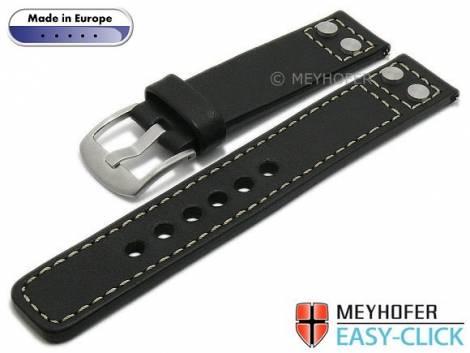 Meyhofer EASY-CLICK Uhrenarmband -Elbing- 24mm schwarz Leder glatt Nieten helle Naht (Schließenanstoß 24 mm) - Bild vergrößern