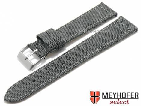 Uhrenarmband -Tijuana- 20mm dunkelgrau Textil abgenäht von MEYHOFER (Schließenanstoß 18 mm) - Bild vergrößern