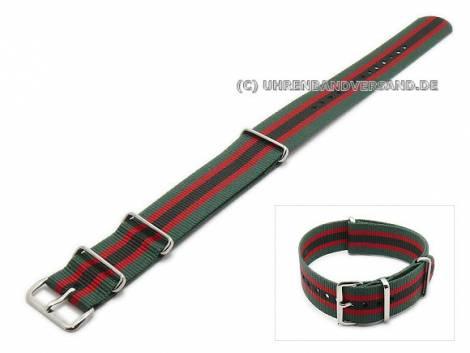 Uhrenarmband 24mm grün/rot mit schwarzem Streifen Textil NATO-Durchzugsband - Bild vergrößern