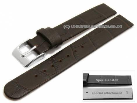 Uhrenarmband 14mm dunkelbraun Leder Alligator-Prägung Spezialanstoß für verschraubte Gehäuse (Schließenanstoß 14 mm) - Bild vergrößern