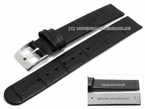 Uhrenarmband 14mm schwarz Leder Alligator-Prägung Spezialanstoß für verschraubte Gehäuse (Schließenanstoß 14 mm) - Bild vergrößern