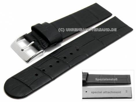 Uhrenarmband 20mm schwarz Leder Alligator-Prägung Spezialanstoß für verschraubte Gehäuse (Schließenanstoß 20 mm) - Bild vergrößern