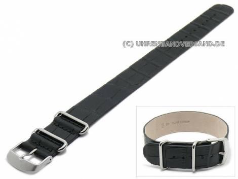 Uhrenarmband 22mm schwarz Leder Alligator-Prägung Durchzugsband - Bild vergrößern