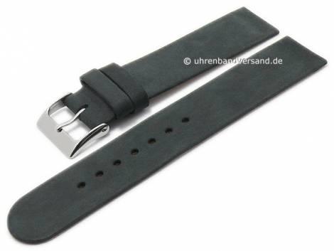 Uhrenarmband 20mm schwarz Leder Antik-Look Spezialanstoß für verschraubte Gehäuse (Schließenanstoß 20 mm) - Bild vergrößern
