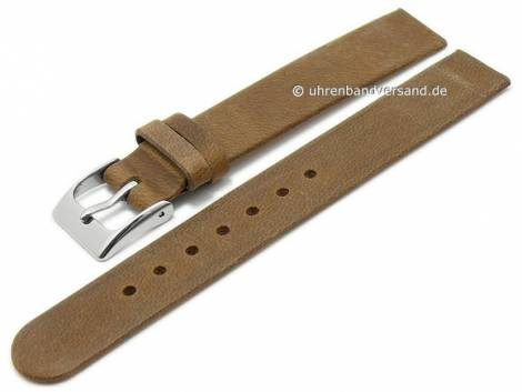 Uhrenarmband 14mm mittelbraun Leder Antik-Look Spezialanstoß für verschraubte Gehäuse (Schließenanstoß 14 mm) - Bild vergrößern