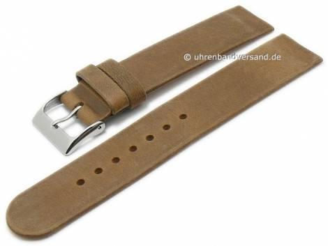 Uhrenarmband 16mm mittelbraun Leder Antik-Look Spezialanstoß für verschraubte Gehäuse (Schließenanstoß 16 mm) - Bild vergrößern