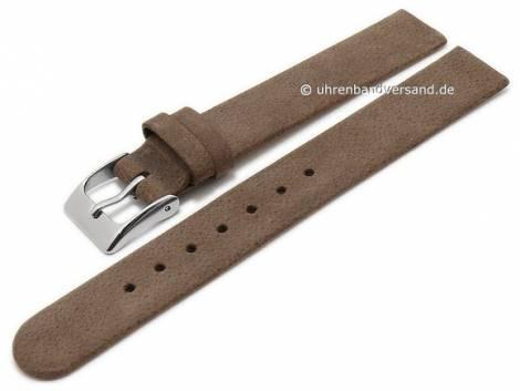 Uhrenarmband 14mm dunkelbraun Leder Antik-Look Spezialanstoß für verschraubte Gehäuse (Schließenanstoß 14 mm) - Bild vergrößern