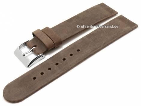 Uhrenarmband 16mm dunkelbraun Leder Antik-Look Spezialanstoß für verschraubte Gehäuse (Schließenanstoß 16 mm) - Bild vergrößern