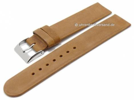 Uhrenarmband 16mm hellbraun Leder Antik-Look Spezialanstoß für verschraubte Gehäuse (Schließenanstoß 16 mm) - Bild vergrößern