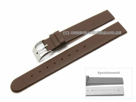 Uhrenarmband 14mm dunkelbraun Kalbsleder Spezialanstoß verschraubte Gehäuse (Schließenanstoß 14 mm) - Bild vergrößern