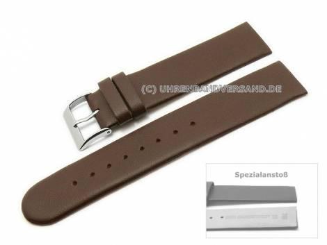 Uhrenarmband 16mm dunkelbraun Kalbsleder Spezialanstoß verschraubte Gehäuse (Schließenanstoß 16 mm) - Bild vergrößern