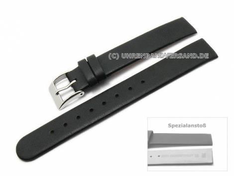 Uhrenarmband 14mm schwarz Kalbsleder Spezialanstoß für verschraubte Gehäuse (Schließenanstoß 14 mm) - Bild vergrößern