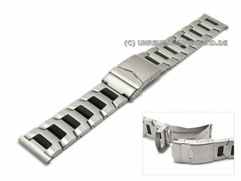 Uhrenarmband 22mm bicolor stahl/schwarz Edelstahl mit Sicherheitsfaltschließe - Bild vergrößern