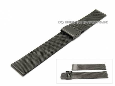 Uhrenarmband 20mm anthrazit/schwarz Milanaise feines Geflecht - Bild vergrößern