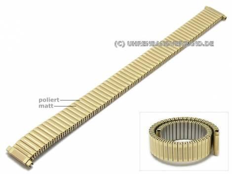 Uhrenarmband XL 12-16mm goldfarben Edelstahl Zugband mit Teleskop-Anstoß teilweise poliert - Bild vergrößern