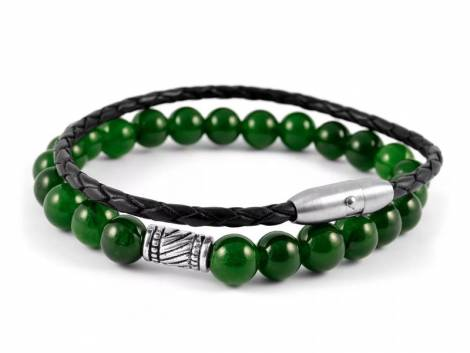 (Schmuck-) Armband-Set 2-teilig Leder/Naturstein schwarz/grün Verschluß Edelstahl - Bandlänge ca. 21cm - Bild vergrößern