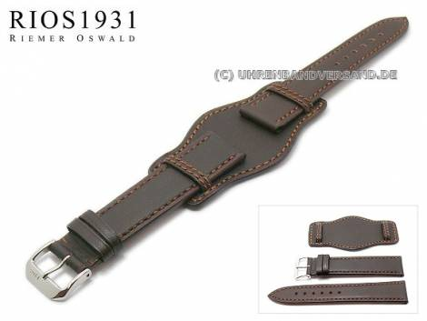 Uhrenarmband -Tula- 20mm dunkelbraun Juchtenleder mit Lederunterlage RIOS (Schließenanstoß 18 mm) - Bild vergrößern