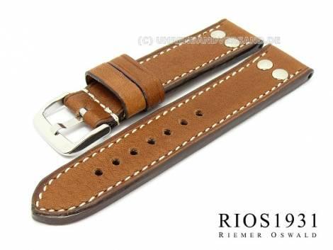 Uhrarmband -Chesterfield- 22mm braun RIOS mit Nieten hochwertiges Leder helle Naht (Schließenanstoß 22 mm) - Bild vergrößern